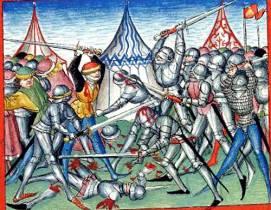 Krwawa walka w pełnych zbrojach przedstawiona w kronice z Bibliotheca Palatina.