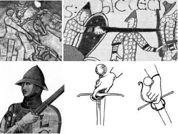 Palec wskazujący był przekładany za jelec już w V wieku naszej ery. Uchwyt ten spotyka się jednak przed XVI wiekiem sporadycznie. Rysunek u góry z lewej pochodzi z perskiej misy znajdującej się w British Museum. Z prawej fragment tkaniny z Bayeux. Poniżej z lewej fragment XIV-wiecznego obrazu, a pozostałe dwa szkice pochodzą z obrazów XV-wiecznych.