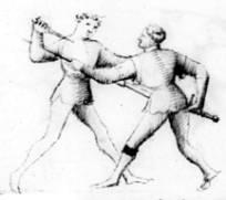 Technika pokazująca jak można obronić się przed sztyletem przed wyciągnięciem miecza z pochwy (Fiore dei Liberi).