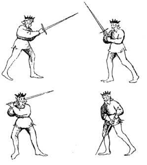 """Cztery z dwunastu postaw pokazanych w traktacie """"Flos Duellatorum"""""""