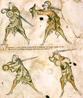 Cztery pierwsze postawy szermiercze pokazane w traktacie I.33