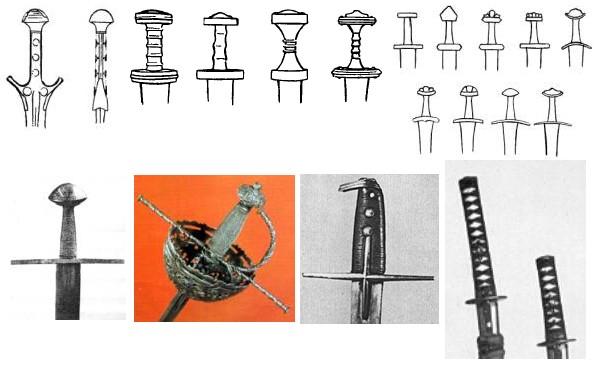 """Różnego rodzaju jelce (od góry z lewej): miecz z epoki brązu, cztery rodzaje mieczy z czasów wędrówki ludów, typologia Wheelera dotycząca mieczy """"wikińskich"""", typowy średniowieczny jelec krzyżowy, rękojeść XVII w. rapiera, jelec szabli węgiersko-polskiej z tego samego okresu oraz rękojeści mieczy japońskich."""