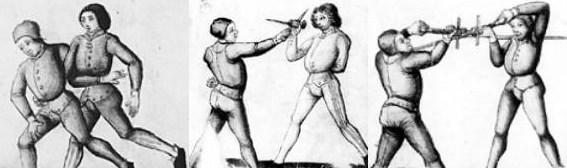 Kompletny system walki w średniowieczu obejmował między innymi zapasy, walkę sztyletem oraz walkę długim mieczem. Ilustracje pochodzą z XV-wiecznego traktatu będącego najprawdopodobniej kopią manuskryptu autorstwa Paulusa Kala.