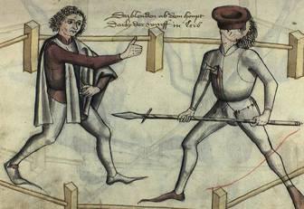 Hans Talhoffer pokazuje jak rozproszyć przeciwnika poprzez rzucenie w niego kapeluszem.